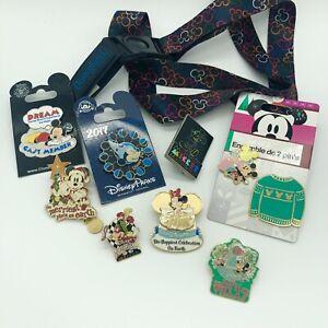 Mickey Mouse Disney World / Disneyland Pin Lot With Lanyard Anniversary