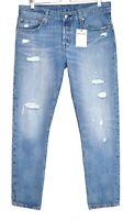Womens Levis 501 BOYFRIEND Tapered Ripped Blue Loose Crop Jeans 14 W31 L34 L30