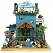 Wooden BEACHHOUSE BIRD HOUSE - Can be used Indoors or Out - Ready to Hang