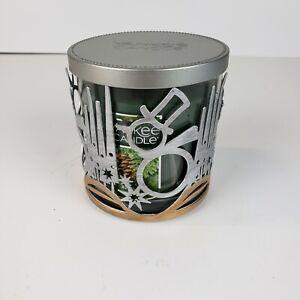 Yankee Candle Set  7 oz BALSAM & CEDAR and Snowman Metal Holder Sleeve NEW