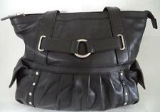 HAMPTON LEATHER GOODS BLACK LEATHER SHOULDER BAG HANDBAG DOUBLE STRAP