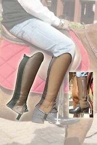 Reversible Brown Leather, Brown Suede Gaiters / Half Chaps