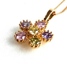 Necklace Pendant Chain Colourful Flower Cubic Zirconia 18K Yellow Gold Plated UK