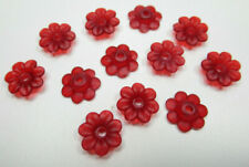 Matte Ruby Red Flower Beads Matte 10mm Bead Caps Acrylic Plastic 5 Petals Qty 12