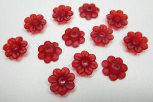 Matte Ruby Red Flower Beads Matte 10mm Bead Caps Acrylic Plastic 7 Petals Qty 12