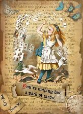 ALICE IN WONDERLAND PACK OF CARDS  RETRO STYLE WALL METAL SIGN HOME DECOR GIFT