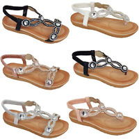 Ladies Sandals Womens Diamante Sling Back Open Toe Post Shoes Fashion Summer New