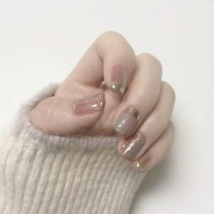 Nude Gold Glitter French Square Detachable Press On Nails Artificial False Nails