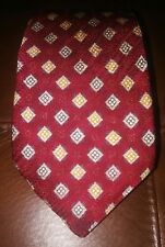 CANALI Italy Red w Blue & Metallic Gold Pattern  Geometric Silk Tie