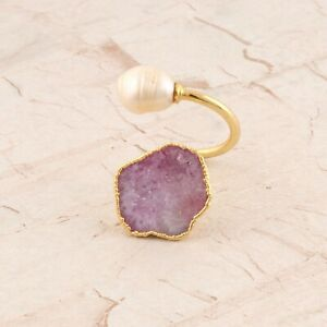 Tiny White Freshwater Pearl Pink Natural Geode Druzy Gold Plated Adjustable Ring