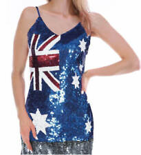 Australian Flag Sequin Singlet Tank Top Aussie Australia Day Womens Costume