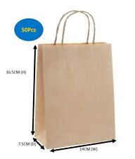 50 BULK BROWN KRAFT CRAFT PAPER GIFT CARRY BAGS WITH HANDLES