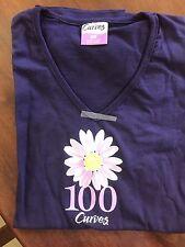 NWT Curves Fitness Women's Purple T-Shirt Size Medium V-neck Milestone 100
