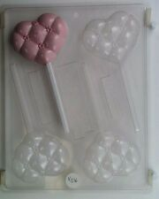 TUFTED HEART LOLLIPOP CLEAR PLASTIC CHOCOLATE CANDY MOLD V036
