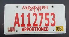 "2005 MISSISSIPPI  LICENSE PLATE "" A 112753 "" MS APPORTIONED SEMI TRACTOR  TRL"