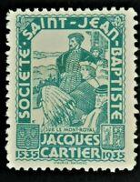 Societe Saint Jean Baptiste Turquoise 1935 JACQUES CARTIER Timbre Canada F/VF