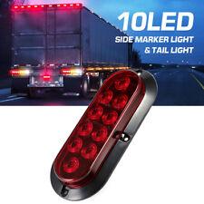 12V 10 LED Oval Turn Brake Trailer Tail Lights Backup Stop Side Marker Lamp Red