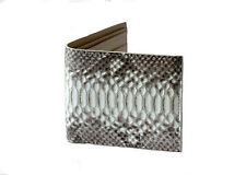 Hudson Bi-Fold Wallet Python Skin Calfskin Leather Stylish White Silver Logo