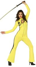 Ladies Sexy Yellow Ninja Jumpsuit Halloween Fancy Dress Costume Outfit 8-10-12