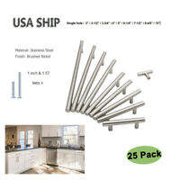 "25Pack Brushed Nickel Kitchen Cabinet Door Handles T Bar Drawer Pulls Knob 2-13"""