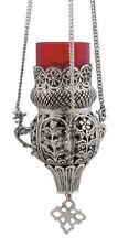 Hanging 3 Chain Engraved Nickel Plated Vigil Lamp Christian Orthodox Kandili New