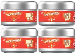 Wella Shockwaves Indie Wax, Long-Lasting Shine/Hold, Short Hairstyles (4 x 75ml)