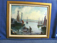 Rockport, Cape Ann School O/B Painting Fishing Boats / Vessels in Harbor 1970's