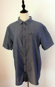 KANGOL ~ Mens Blue Chambray Woven Polka Dots Cotton Button Front Shirt Top L