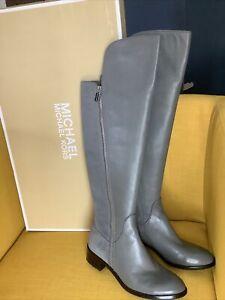 NWB $295 MICHAEL KORS  BERKLEY ZIP FEATURE RIDING BOOT IN Slate Grey Sz 7,5