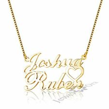 Double Name Necklaces with Heart Personalized Letter Copper Pendant Gift Jewelry