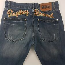 REPLAY Mens Vintage Jeans W34 L30 Blue Regular Fit Straight High Rise Buttons