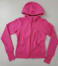 Lululemon Scuba Full Zip Hoodie Pink Sz 4 Logo Thumb Holes Athletic Sweatshirt