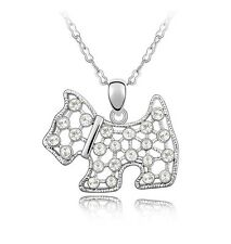 18K GOLD GP Made With SWAROVSKI Elements CRYSTAL Puppy Dog NECKLACE