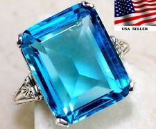 10CT Blue Topaz 925 Solid Sterling Silver Art Deco Filigree Ring Jewelry Sz 7