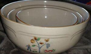 Set of 3 Vintage International Heartland Stoneware Mixing Bowls Set