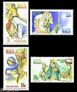 Christmas 2003 set of 4 stamps mnh Malta  #1144-7