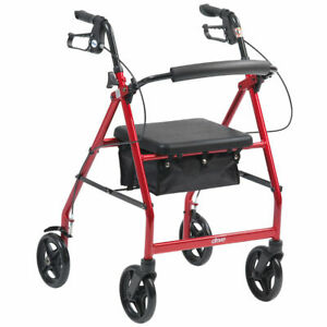 RETURN R8 Indoor 4 Wheel Rollator With Brakes Seat and Bag Red