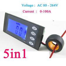100A AC Digital power Meter Volt Amp kWh Watt energy Working Time clock 110-220v