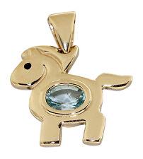 Kleines Pferdchen - Anhänger Gold 585 mit Blautopas - Goldanhänger Pferd