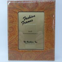 The Bucklers NY Enamel Picture Frame Yellow Paisley Fashion Mid-Century Vintage