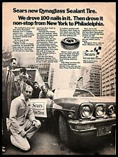 1971 Sears Dynaglass Sealant Tires Vintage PRINT AD Cars Service Nails B&W 1970s