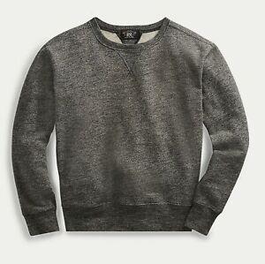 Ralph Lauren RRL Graphite Heather Cotton Fleece Sweatshirt Sweater XXL New $225