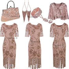 Rose Gold 1920s Flapper Dress Gatsby Costumes Evening Gowns Party Fringe Dresses