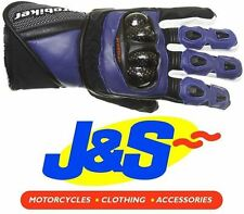 PROBIKER PRX-12 LEATHER MOTORCYCLE GLOVES MOTORBIKE GLOVE RACING RACE BLUE J&S