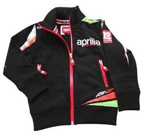 SWEATSHIRT Aprilia Racing Full Zip kids Bike MotoGP NEW! Childrens Black