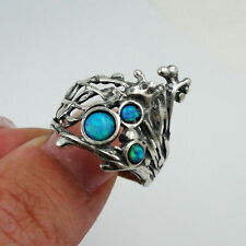Handmade 925 Sterling Silver Blue Opal Ring any size October Birthstone  (h 158)