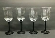 Luminarc Octagon Crystal  Black Stemmed Wine/Water Glass - Set of 4