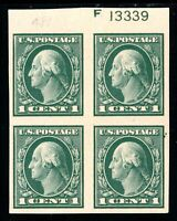 USAstamps Unused VF US Washington Imperforate Plate Block Scott 481 OG MLH