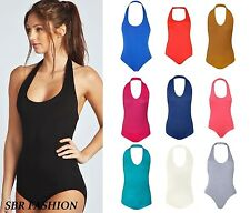 NEW  LADIES HALTER NECK PLAIN STRETCHY JERSEY BACKLESS BODYSUITS LEOTARD TOP