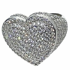 Heart Ring Real Solid 925 Sterling Silver Hip Hop Jewelry Huge Iced Finger Bling